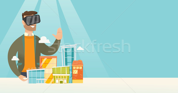 Stockfoto: Kaukasisch · man · virtueel · realiteit · hoofdtelefoon