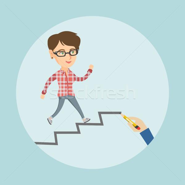 Caucasian employee running up the career ladder. Stock photo © RAStudio