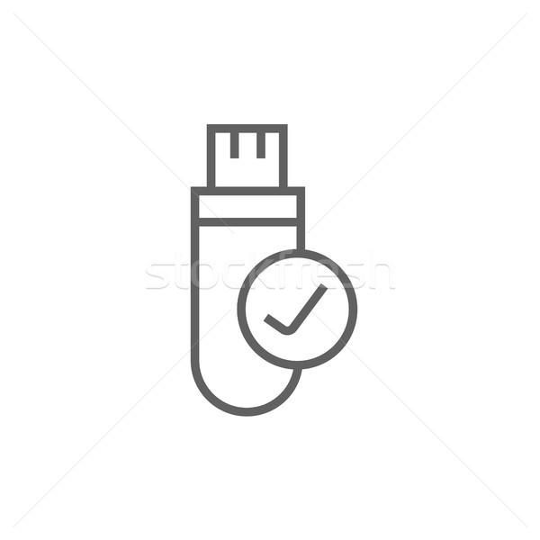 Usb flash drive linha ícone teia Foto stock © RAStudio