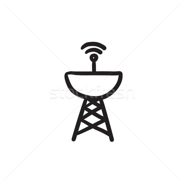 Radar kroki ikon vektör yalıtılmış Stok fotoğraf © RAStudio