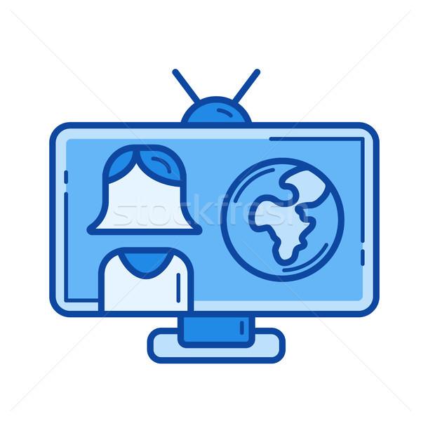 Breaking news lijn icon vector geïsoleerd witte Stockfoto © RAStudio