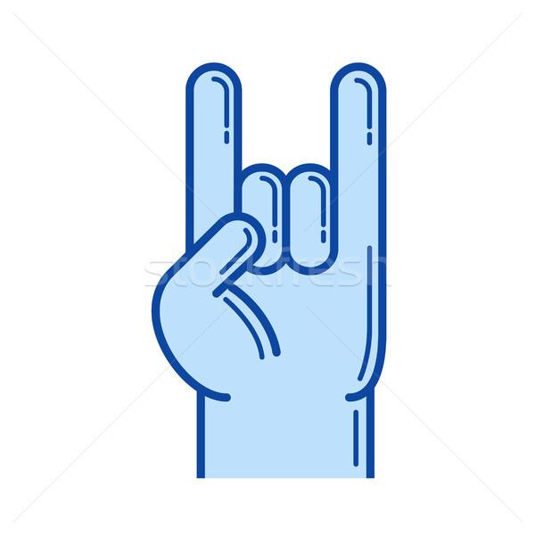 Rock rollen hand lijn icon vector Stockfoto © RAStudio
