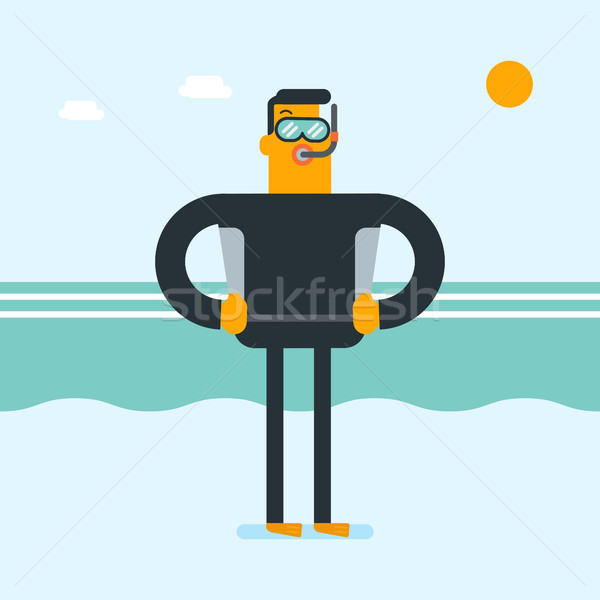 Young caucasian white scuba diver in diving suit. Stock photo © RAStudio
