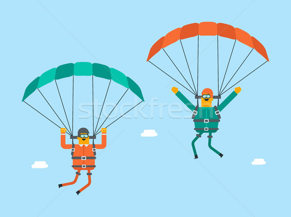Caucasian white men flying with a parachute. Stock photo © RAStudio