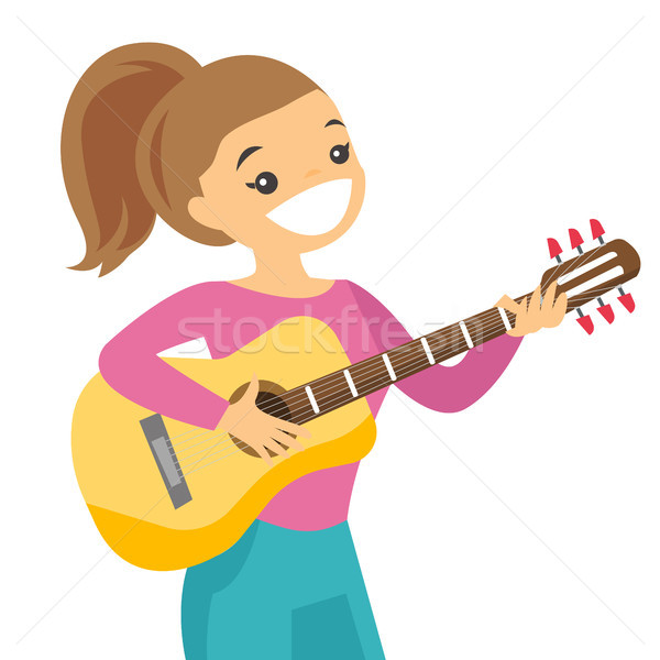 Woman playing acoustic guitar vector illustration. Stock photo © RAStudio