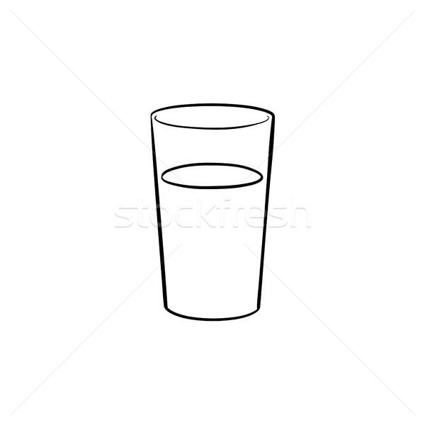 üveg víz kézzel rajzolt rajz ikon skicc Stock fotó © RAStudio
