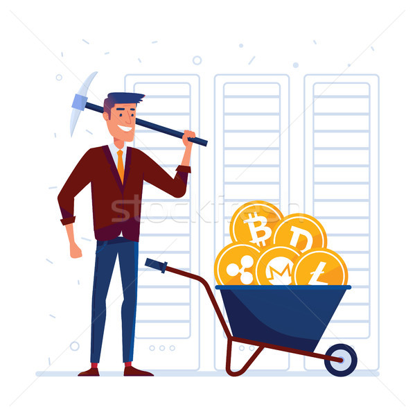 Man with pickaxe and barrow full of crypto coins Stock photo © RAStudio