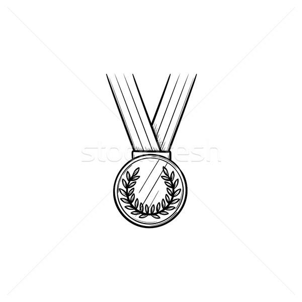 Médaille ruban dessinés à la main doodle icône Photo stock © RAStudio