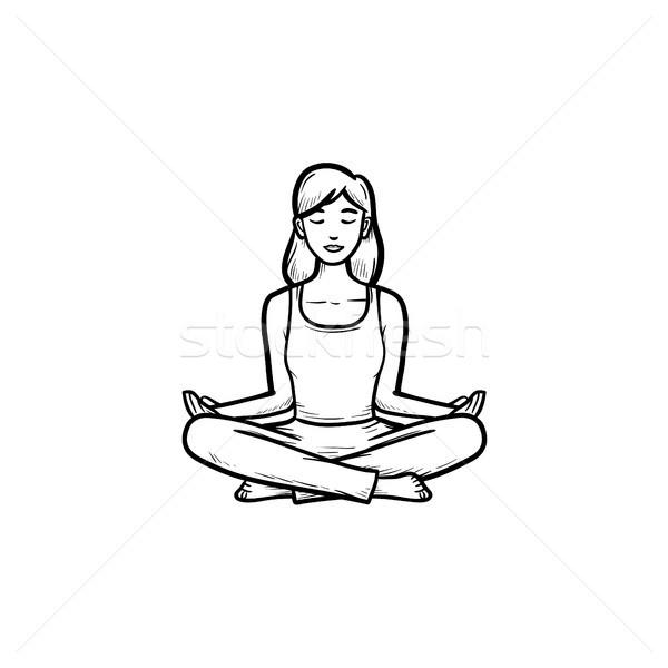 Woman in yoga lotus pose hand drawn outline doodle icon. Stock photo © RAStudio