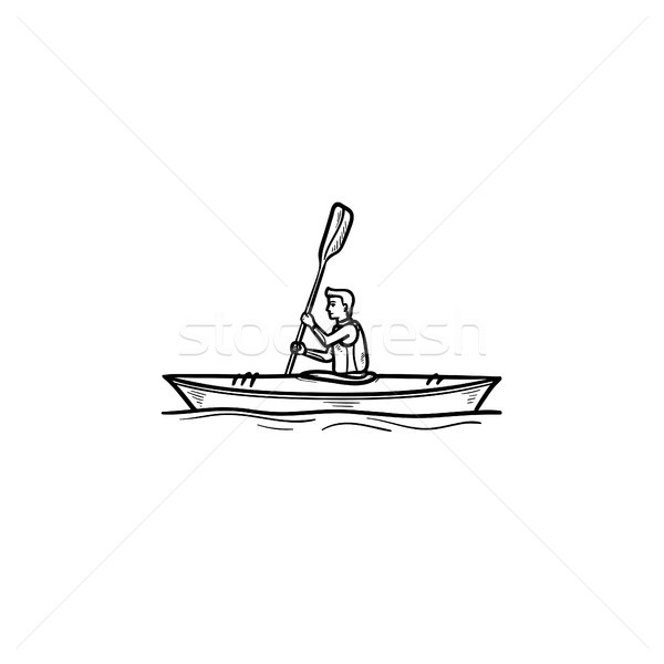 Man in canoe hand drawn outline doodle icon. Stock photo © RAStudio
