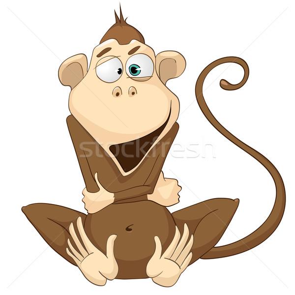 Stock fotó: Rajzfilmfigura · majom · izolált · fehér · vektor · baba