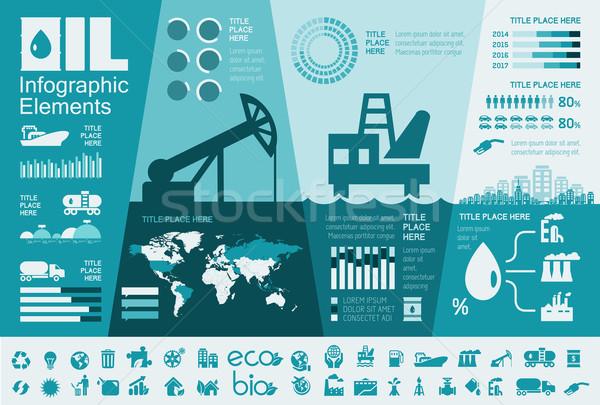 Olajipar infografika sablon elemek meg ikon gyűjtemény Stock fotó © RAStudio