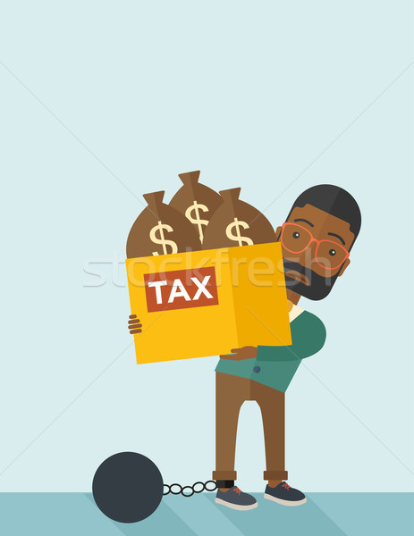 African Businessman locked in a debt ball and chain. Stock photo © RAStudio