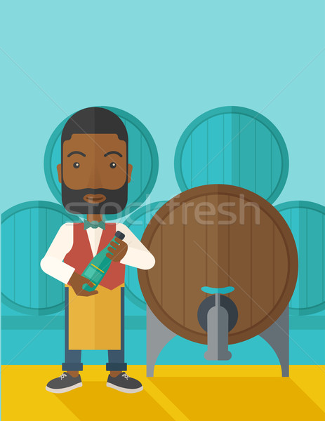 African Wein Barrel stehen tragen Schürze Stock foto © RAStudio