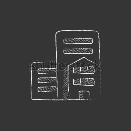 Printer icon drawn in chalk Stock photo © RAStudio