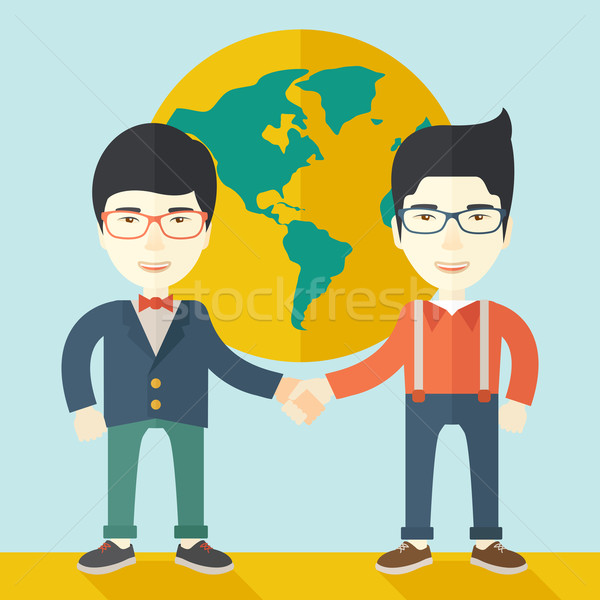 Dois chinês caras alegremente homens internacional Foto stock © RAStudio