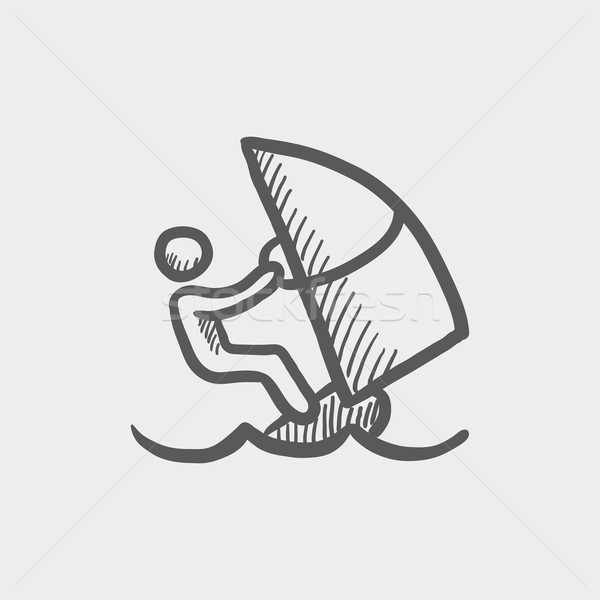 Wind surfing sketch icon Stock photo © RAStudio