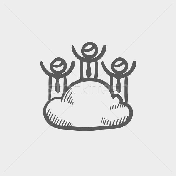 Drie mannen wolk schets icon web Stockfoto © RAStudio