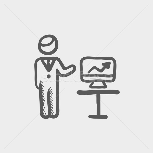 Stock photo: Businessman presentation sketch icon