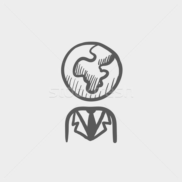 Human with globe head sketch icon Stock photo © RAStudio