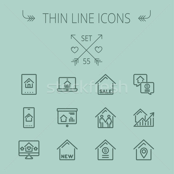 Real Estate thin line icon set Stock photo © RAStudio