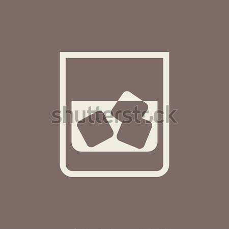 Glass of water with ice icon drawn in chalk. Stock photo © RAStudio