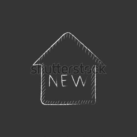 New house icon drawn in chalk. Stock photo © RAStudio