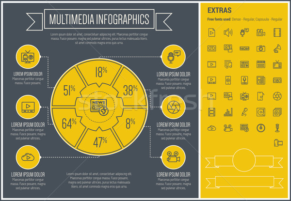 Multimedia Line Design Infographic Template Stock photo © RAStudio