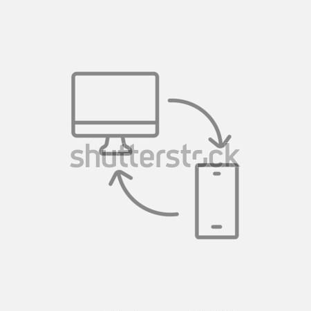 Synchronization computer with mobile device line icon. Stock photo © RAStudio