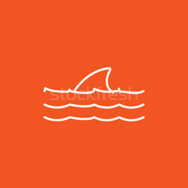 Dorsal shark fin above water line icon. Stock photo © RAStudio