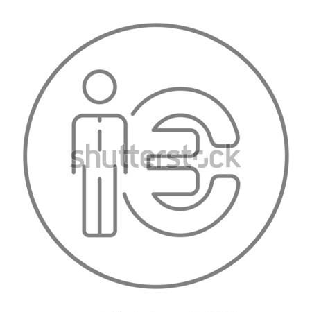 Zakenman permanente naast euro symbool lijn Stockfoto © RAStudio