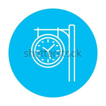 Estação de trem relógio linha ícone teia móvel Foto stock © RAStudio