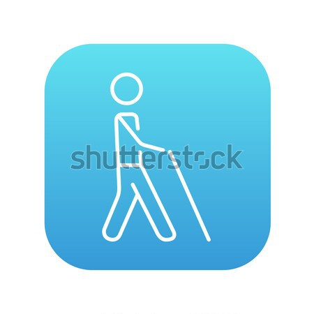 Blind man with stick line icon. Stock photo © RAStudio