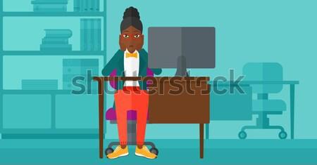 Tired employee sitting in office. Stock photo © RAStudio