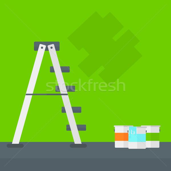 стены краской лестнице зеленый стен вектора Сток-фото © RAStudio