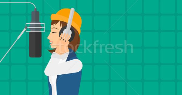 énekes készít lemez fejhallgató hang stúdió Stock fotó © RAStudio