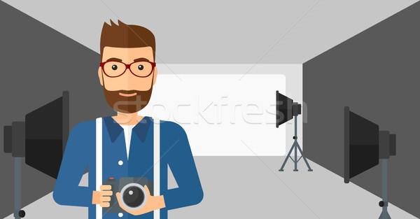 улыбаясь фотограф камеры человека Сток-фото © RAStudio