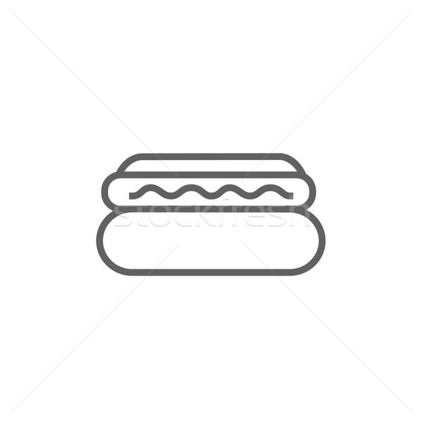 хот-дог линия икона уголки веб мобильных Сток-фото © RAStudio