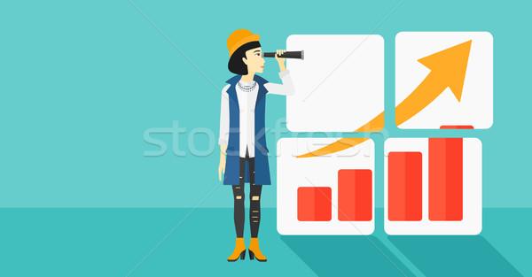 Femme regarder positif graphique à barres asian bleu Photo stock © RAStudio