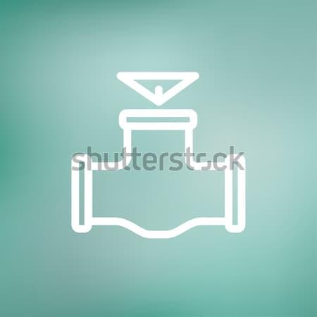газ трубы клапан линия икона уголки Сток-фото © RAStudio