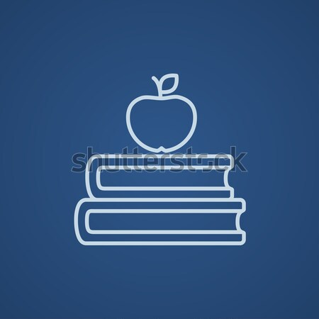 Stockfoto: Boeken · appel · top · lijn · icon · hoeken