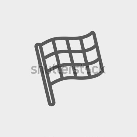 Checkered flag line icon. Stock photo © RAStudio