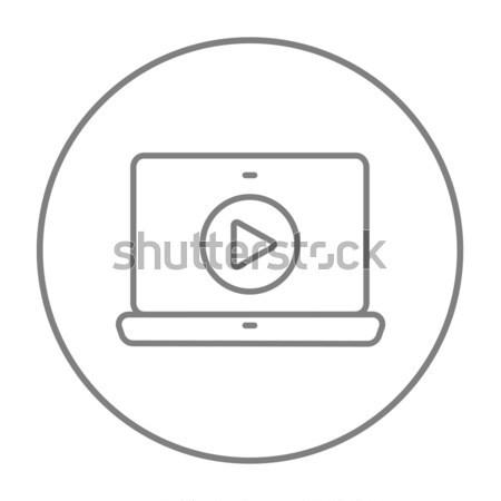 ноутбука играть кнопки экране линия икона Сток-фото © RAStudio