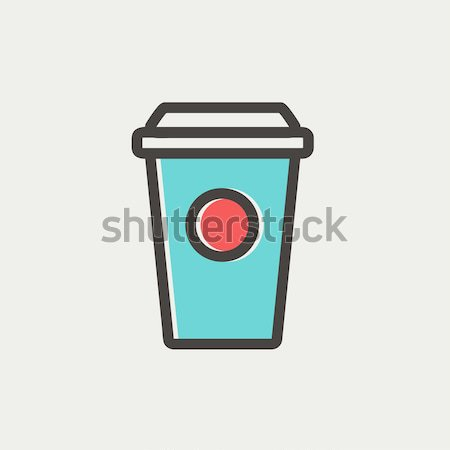 Disposable cup with drinking straw line icon. Stock photo © RAStudio