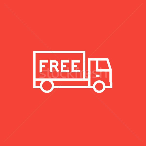 Ingyenes szállítás teherautó vonal ikon sarkok háló Stock fotó © RAStudio
