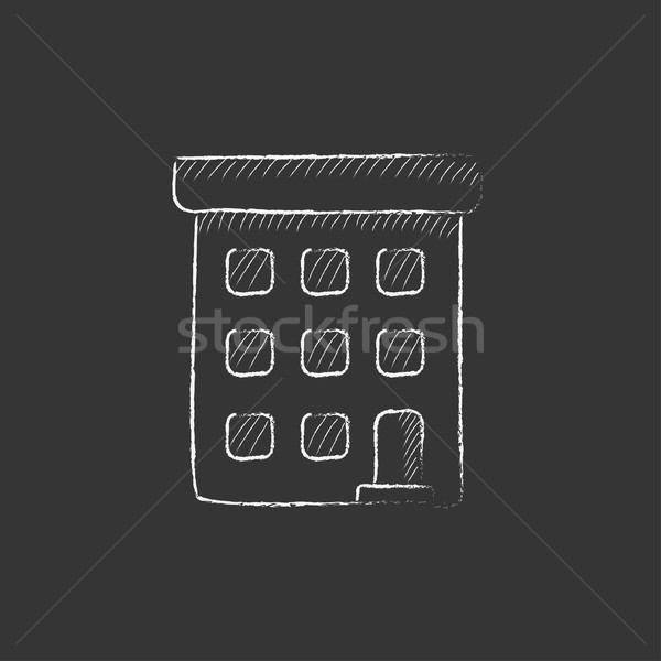 Condominium building. Drawn in chalk icon. Stock photo © RAStudio