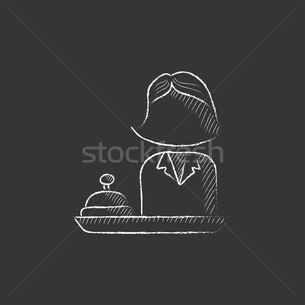 Vrouwelijke receptionist krijt icon Stockfoto © RAStudio