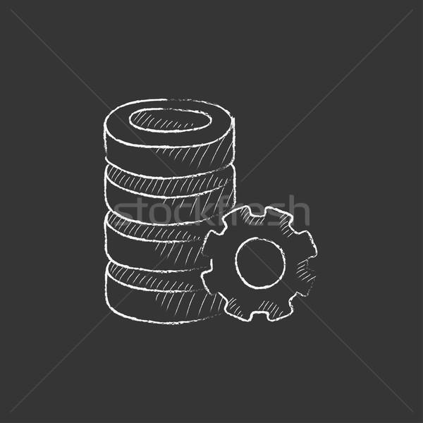 Szerver viselet rajzolt kréta ikon kézzel rajzolt Stock fotó © RAStudio