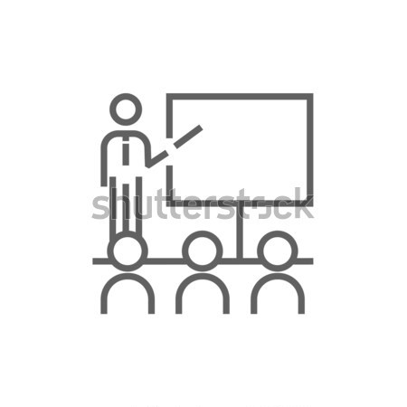 Business presentation line icon. Stock photo © RAStudio