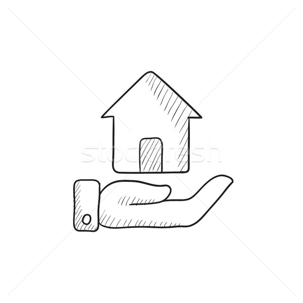 Stock photo: House insurance sketch icon.
